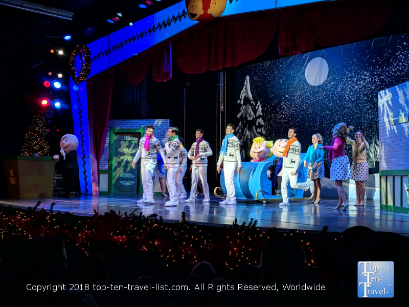 Charlie Brown musical holiday show at Carowind's Winterfest in North Carolina
