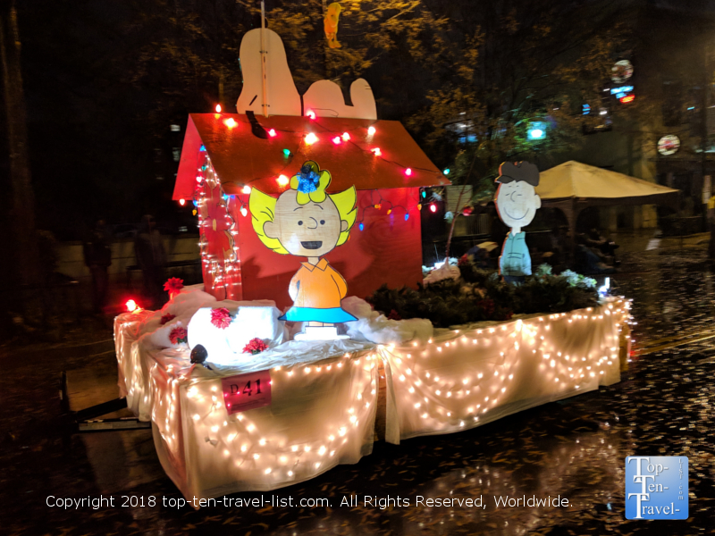 Snoopy float in the Poinsettia parade in downtown Greenville, South Carolina
