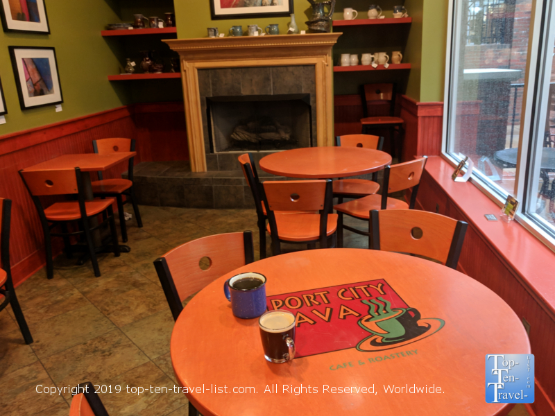 Cozy interior of Port City Java in downtown Greenville, South Carolina