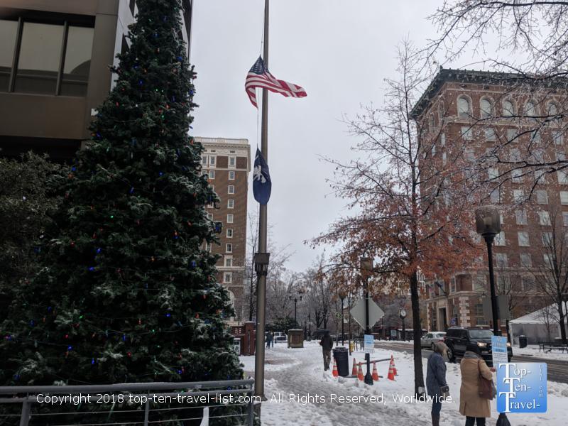 Downtown Greenville SC after a rare December snowstorm