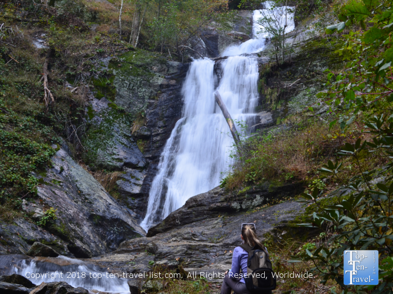 Enjoying a gorgeous view of the Tom's Creek waterfall in Western North Carolina