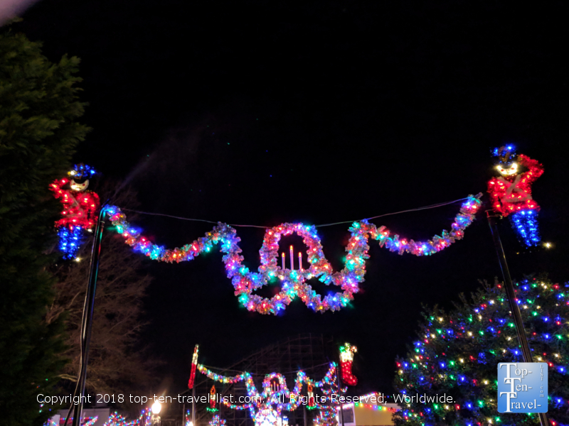 Festive Christmas decorations at Carowind's Winterfest in North Carolina