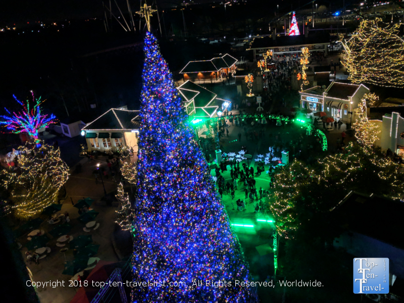 Gorgeous Christmas tree at Carowind's Winterfest in North Carolina