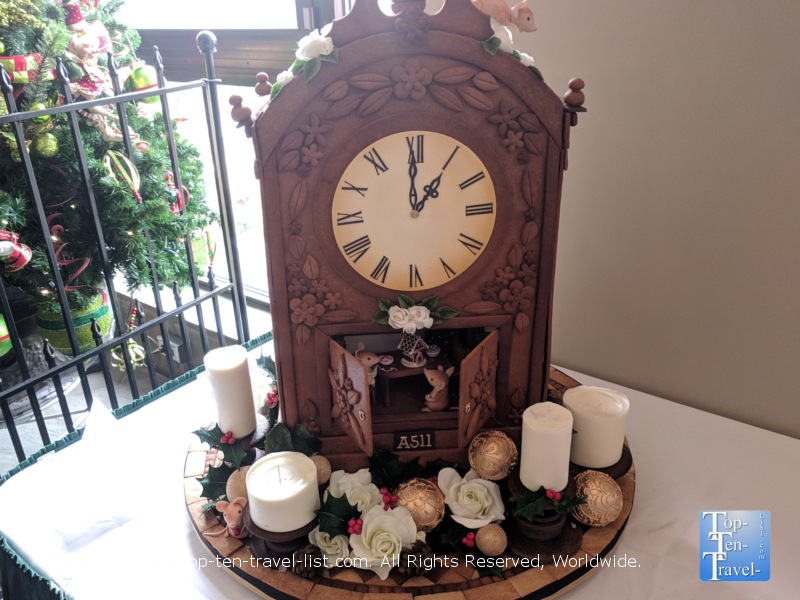 Grandfather clock gingerbread at the Omni Park Grove in Asheville, North Carolina