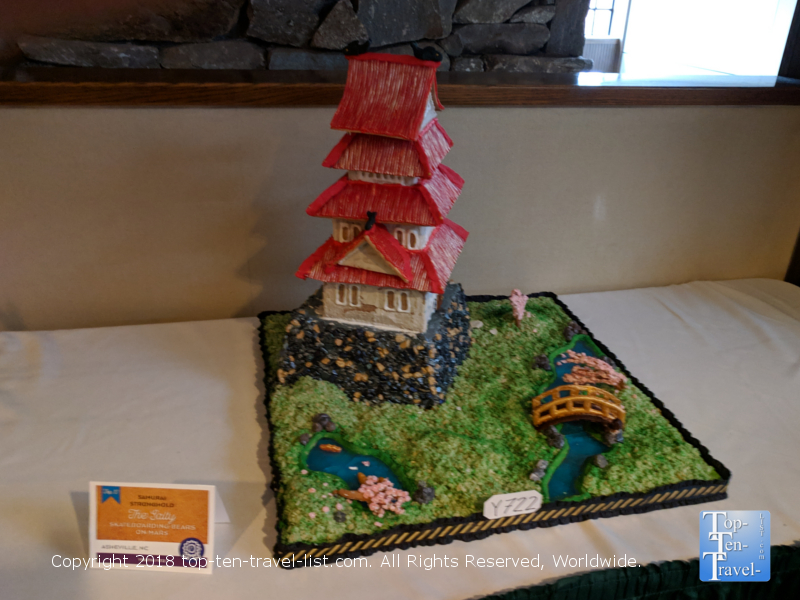 Japanese garden gingerbread creation at the Omni Park Grove in Asheville, North Carolina