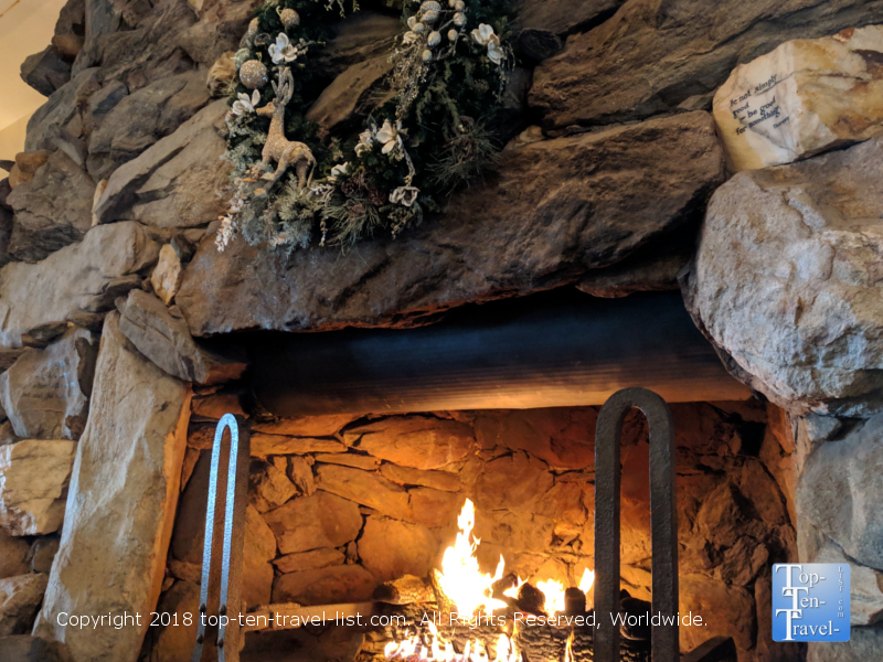 Massive fireplace at the Omni Park Grove in Asheville, North Carolina