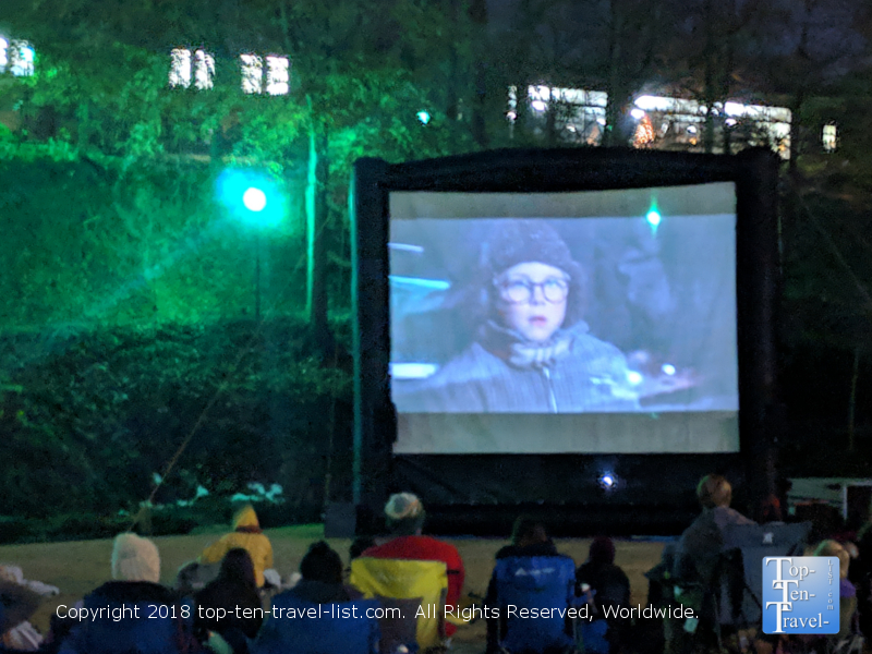A Christmas Story screening in Falls Park in Greenville, SC - Moonlight Movies series