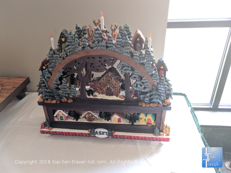 Mountain lodge gingerbread creation at the Omni Park Grove in Asheville, North Carolina