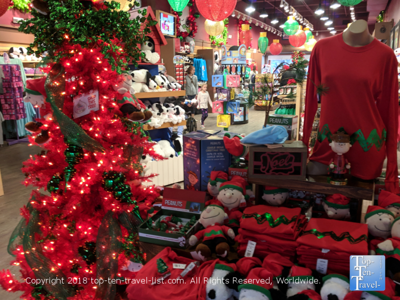Peanuts Christmas gift shop at Carowinds Winterfest in North Carolina
