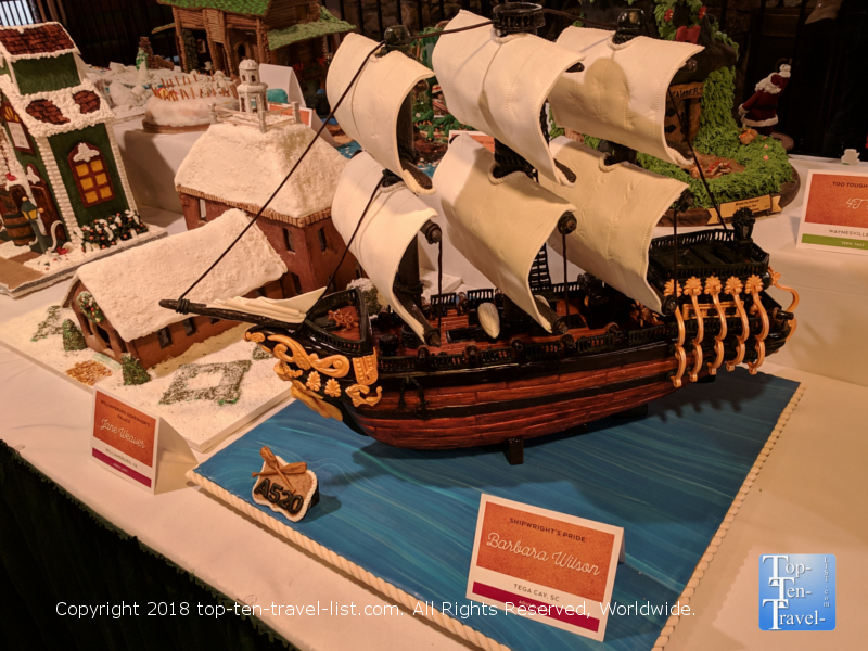 Pirate ship gingerbread creation at the Omni Park Grove in Asheville, North Carolina