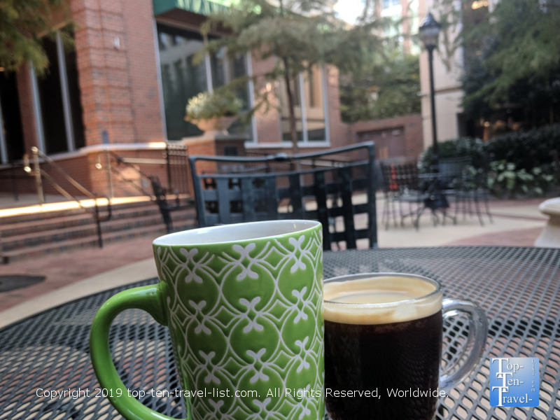 Beautiful patio at Port City Java coffeehouse in downtown Greenville, South Carolina