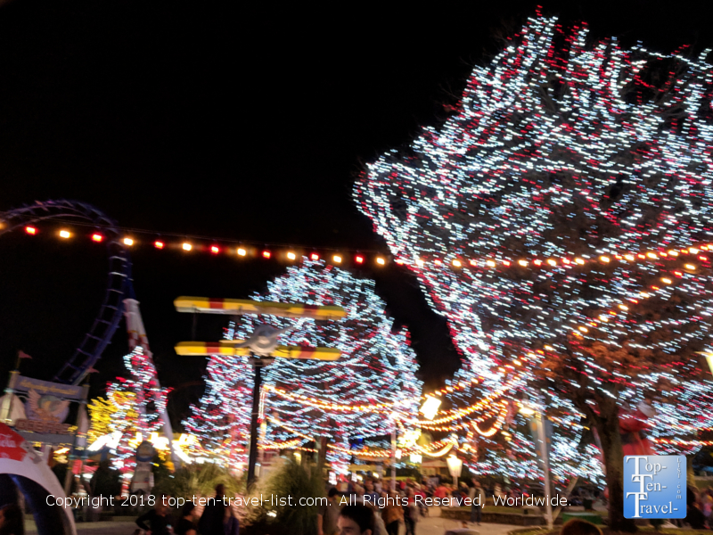 Pretty candy cane holiday lights at Carowind's Winterfest in North Carolina