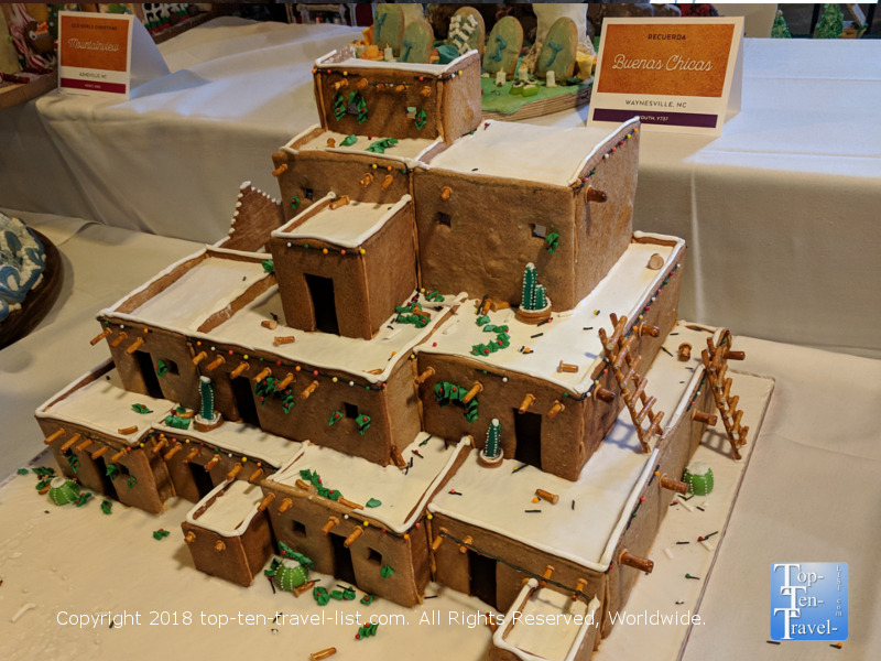 Pueblo gingerbread creation at the Omni Park Grove Inn in Asheville, North Carolina