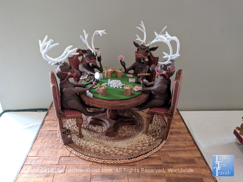 Reindeers playing poker gingerbread at the Omni Park Grove in Asheville, North Carolina