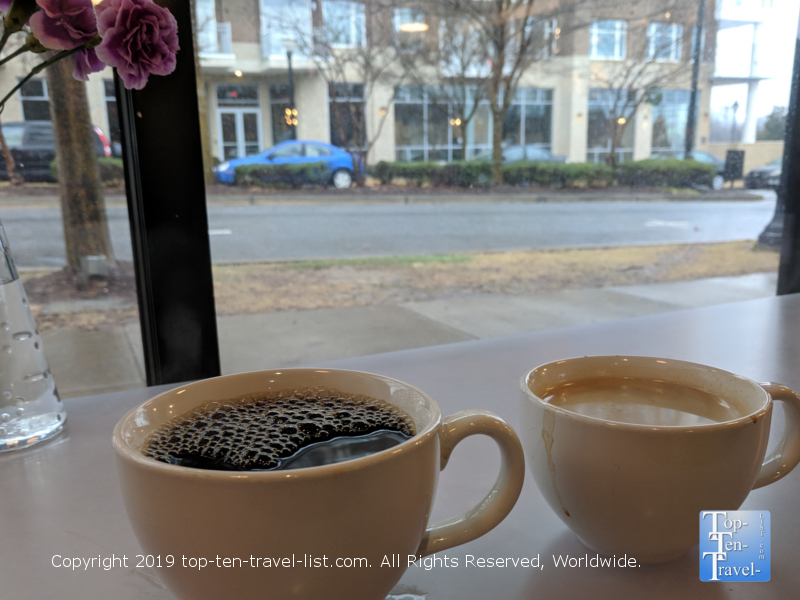 Relaxing with a good cup of coffee at West End Coffee Shoppe in Greenville, South Carolina