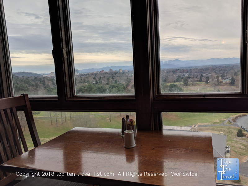 Views of the Blue Ridge mountains from the Blue Ridge buffet at the Omni Park Grove in Asheville, North Carolina