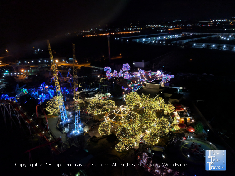 View of the Winterfest lights at Carowinds from the SkyTower ride