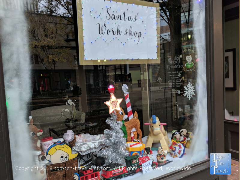 Window decorating contest in downtown Greenville, South Carolina
