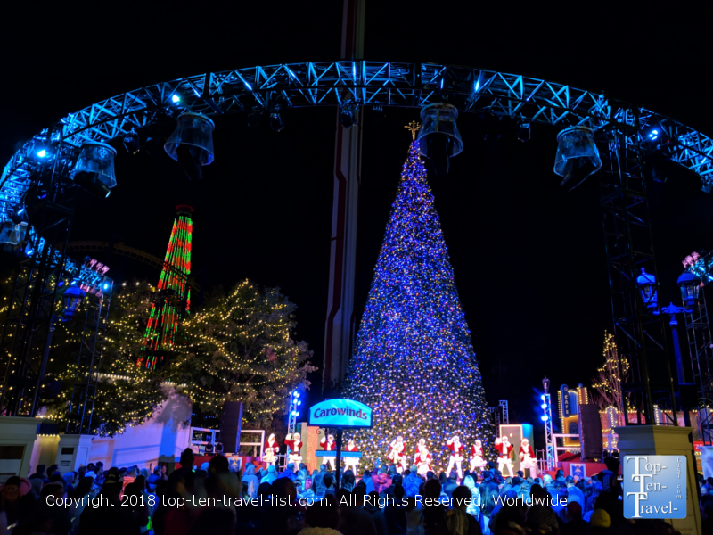 Beautiful Christmas lights at Carowinds Amusement Park