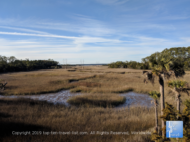 Beautiful marsh scenery at Mt. Pleasant County Park in South Carolina