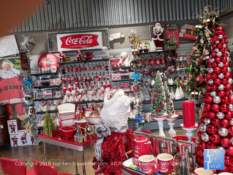 Coca-Cola themed Christmas gift shop at Carowinds Winterfest