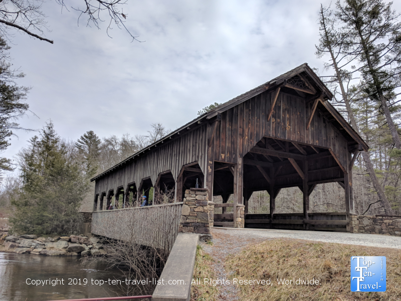 Covered bridge along the High Falls trail in North Carolina