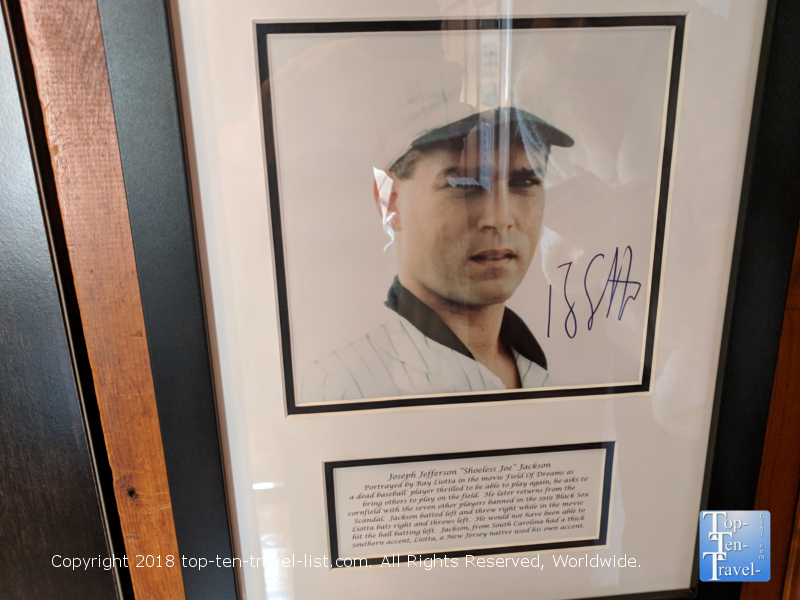 Field of Dreams memorabilia at Shoeless Joe Jackson museum in Greenville, South Carolina