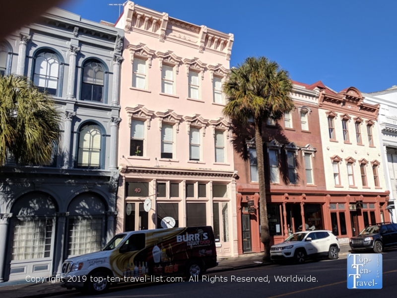 Gorgeous colorful architecture in downtown Charleston, South Carolina