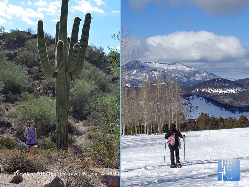 Hiking in Phoenix and snowshoeing in Flagstaff