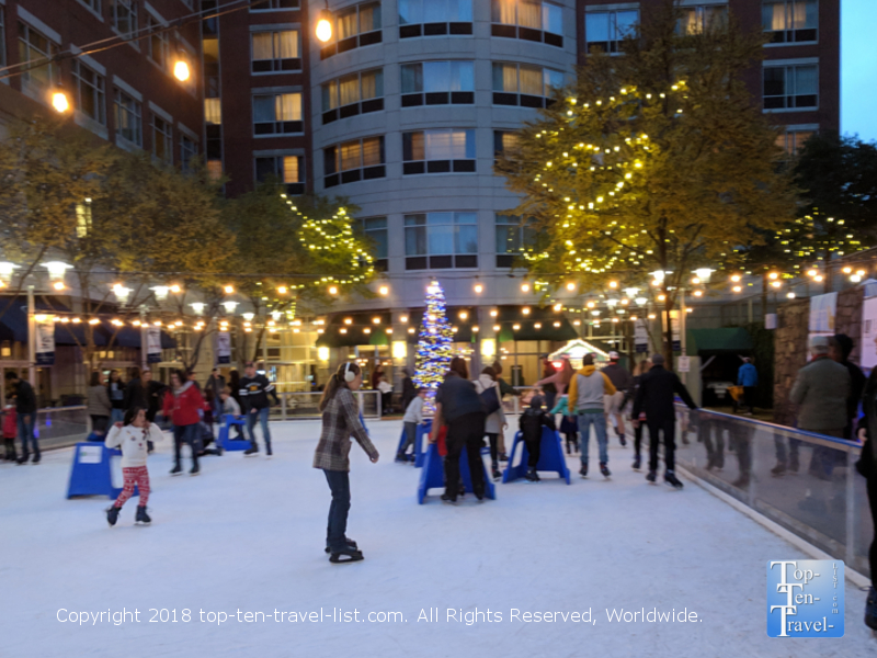 Ice skating in downtown Greenville, South Carolina