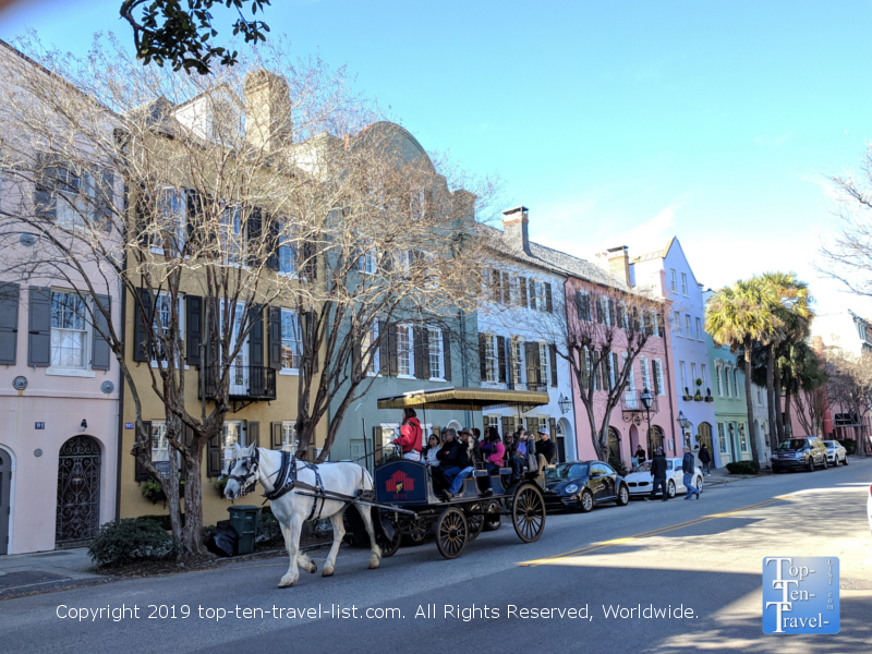 Carriage ride through beautiful Rainbow Row in downtown Charleston, South Carolina