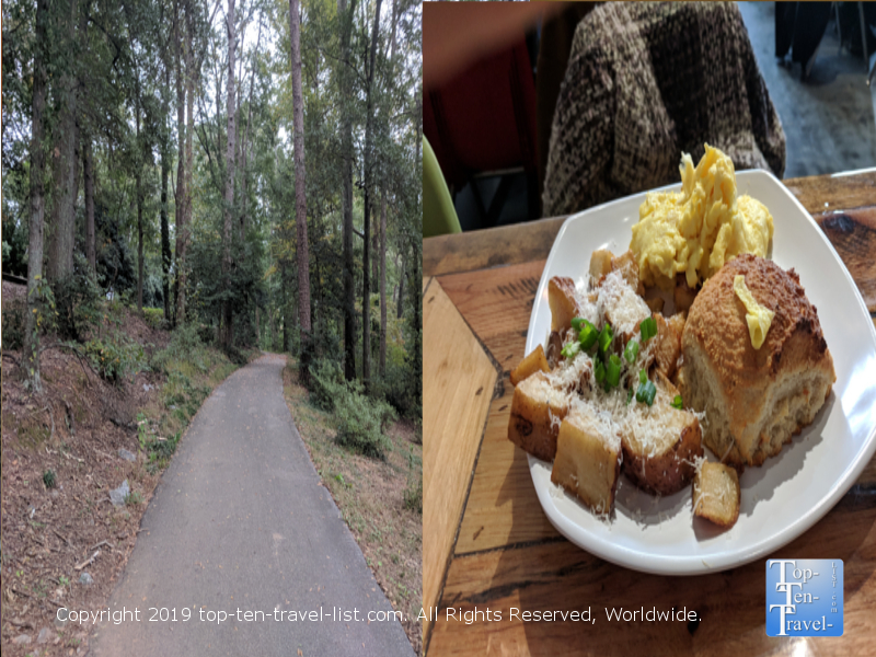 Swamp Rabbit trail and Biscuit Head in Greenville, South Carolina