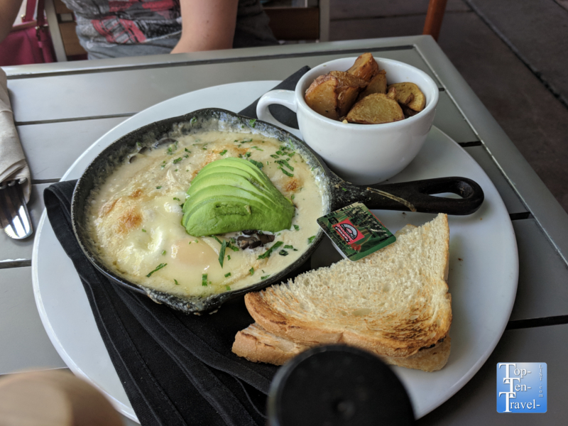 Amazing Cast Iron Baked eggs at the Hotel Congress Cup Cafe in Tucson, Arizona