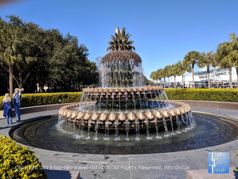 Beautiful fountain near the waterfront in downtown Charleston, South Carolina