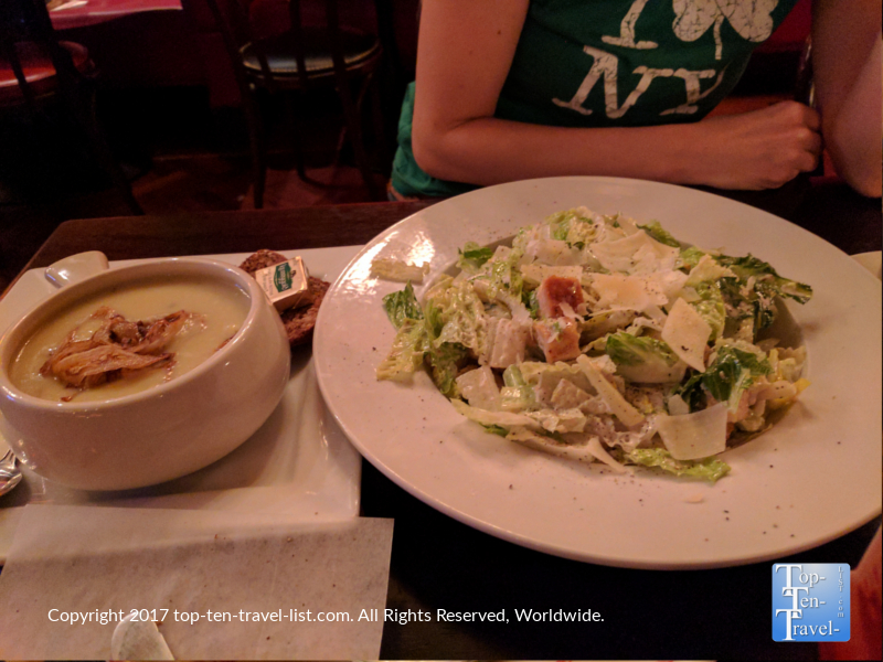 Irish Leek soup and a Caesar salad at Ri Ra Irish pub in Vegas