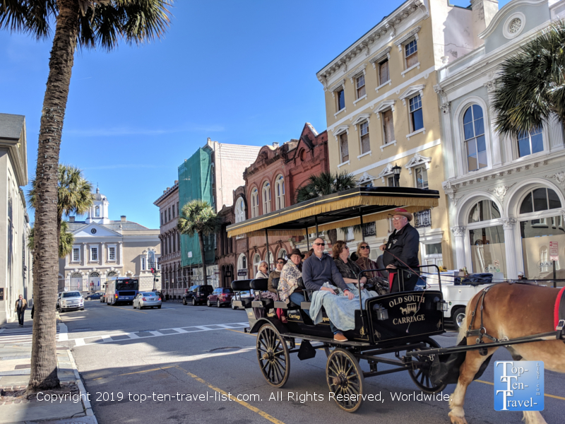 Horse drawn carriage ride through downtown Charleston, South Carolina