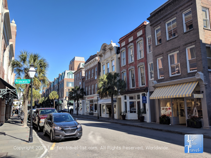 Beautiful architecture lining King Street in downtown Charleston, South Carolina