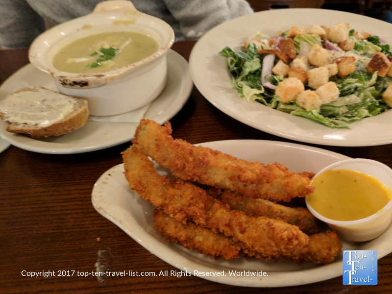 Fried pickle spears, salad, and potato leek soup at the Irish Embassy Pub in downtown Durango