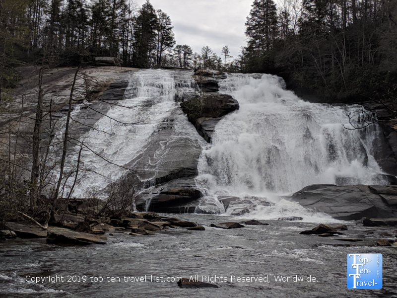 Serene views of High Falls waterfall along the Triple Falls trail within Dupont State Forest
