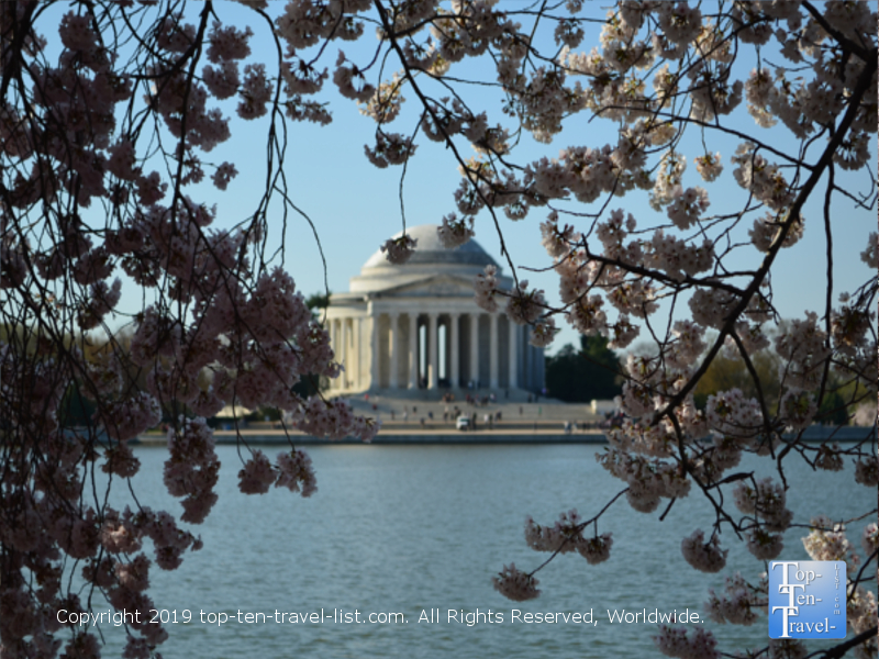 Beautiful views of the Jefferson Memorial during the spring season at Tidal Basin Park