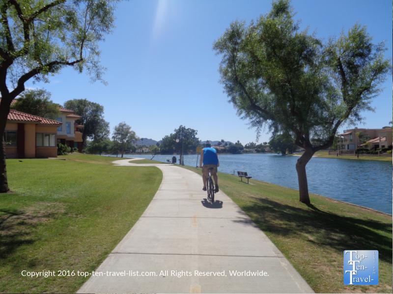Biking the scenic Scottsdale Greenbelt along the water