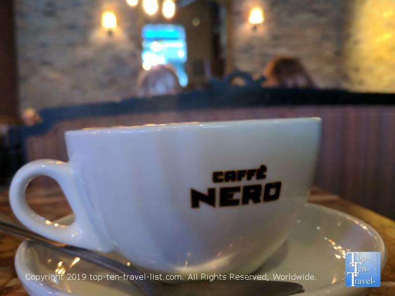 Coffee at Caffe Nero in Boston, MA