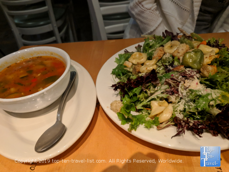 Delicious soup and salad at Five Loaves in Charleston, SC