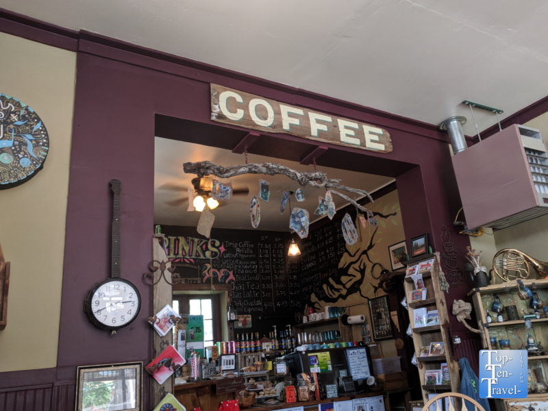 Eclectic decor at Tranquilbuzz Coffee shop in Silver City, New Mexico