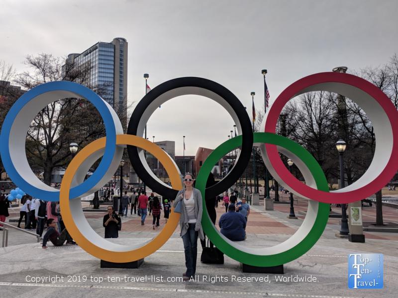 Olympic rings sculpture at Centennial Olympic Park in Atlanta, GA