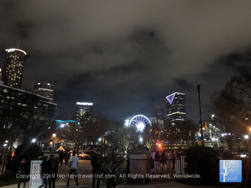 Pretty night scenery at Centennial Olympic Park in Atlanta, GA