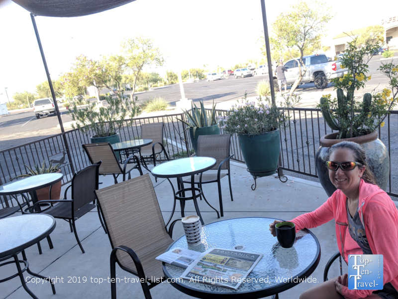 Relaxing at Roadrunner Coffee in Tucson, Arizona