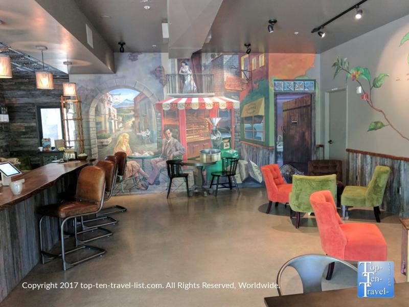 Colorful interior of Savaya coffee in Oro Valley, Arizona