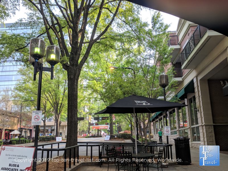 Beautiful outdoor patio at Port City Java in downtown Greenville, South Carolina