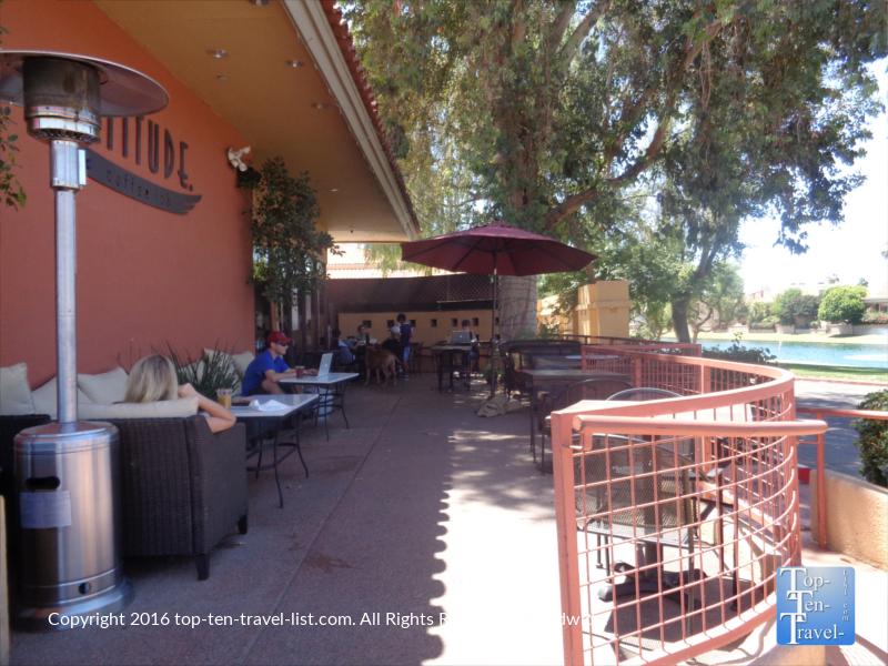 Waterfront patio at Altitudes Coffee Lab in Scottsdale, Arizona
